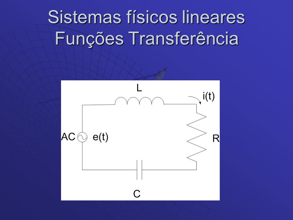 Sistemas físicos lineares Funções Transferência