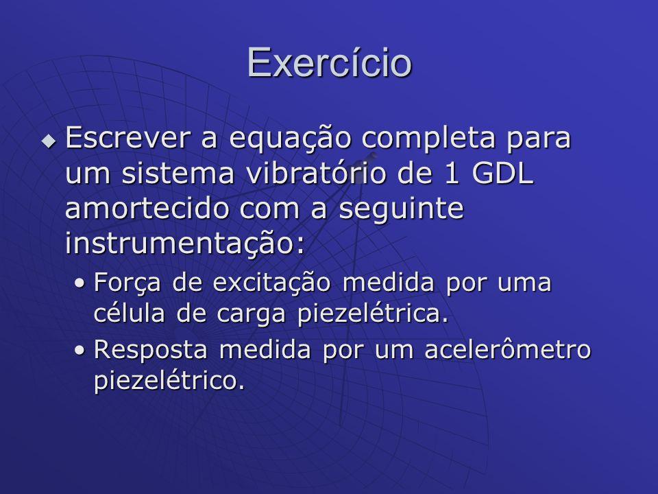 Exercício Escrever a equação completa para um sistema vibratório de 1 GDL amortecido com a seguinte instrumentação: