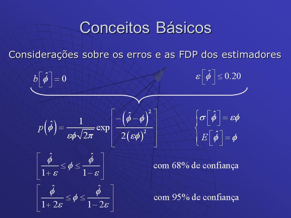 Considerações sobre os erros e as FDP dos estimadores