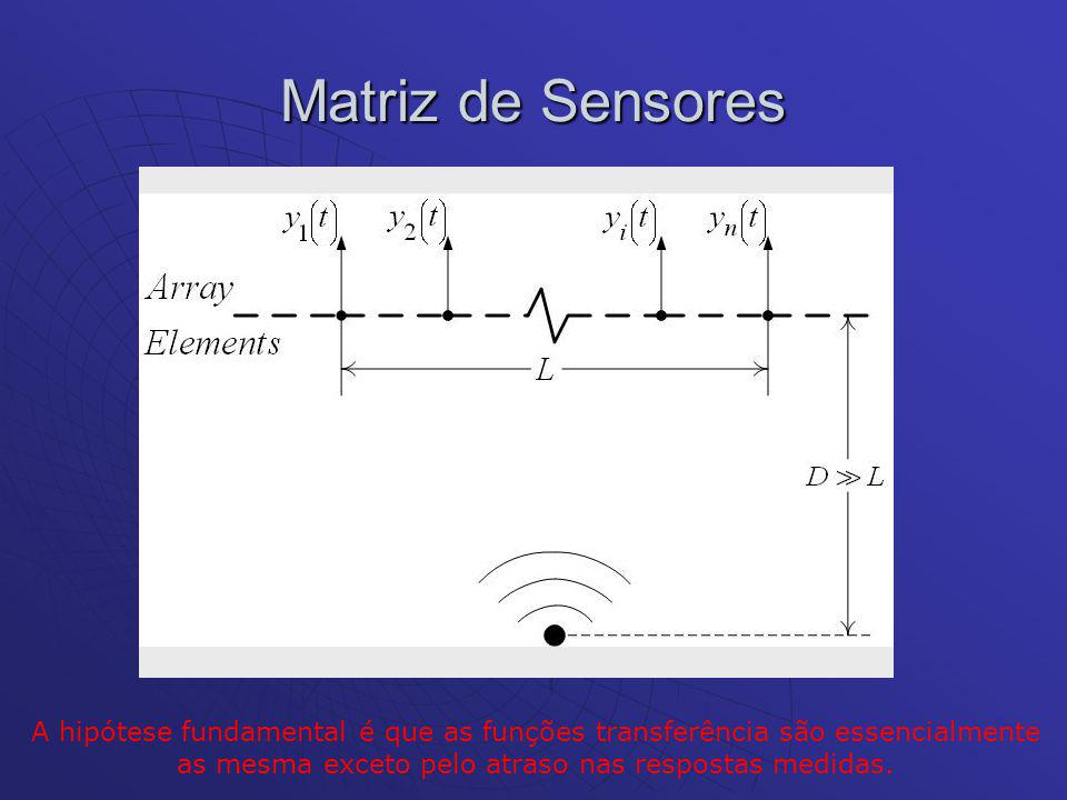 Matriz de Sensores A hipótese fundamental é que as funções transferência são essencialmente as mesma exceto pelo atraso nas respostas medidas.