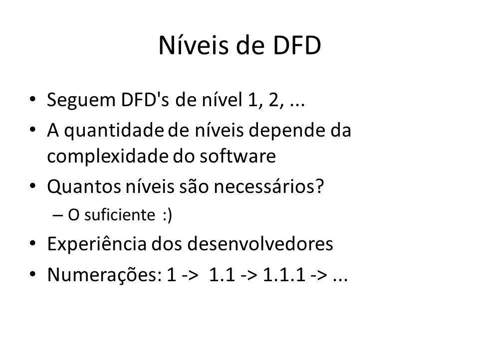 Níveis de DFD Seguem DFD s de nível 1, 2, ...