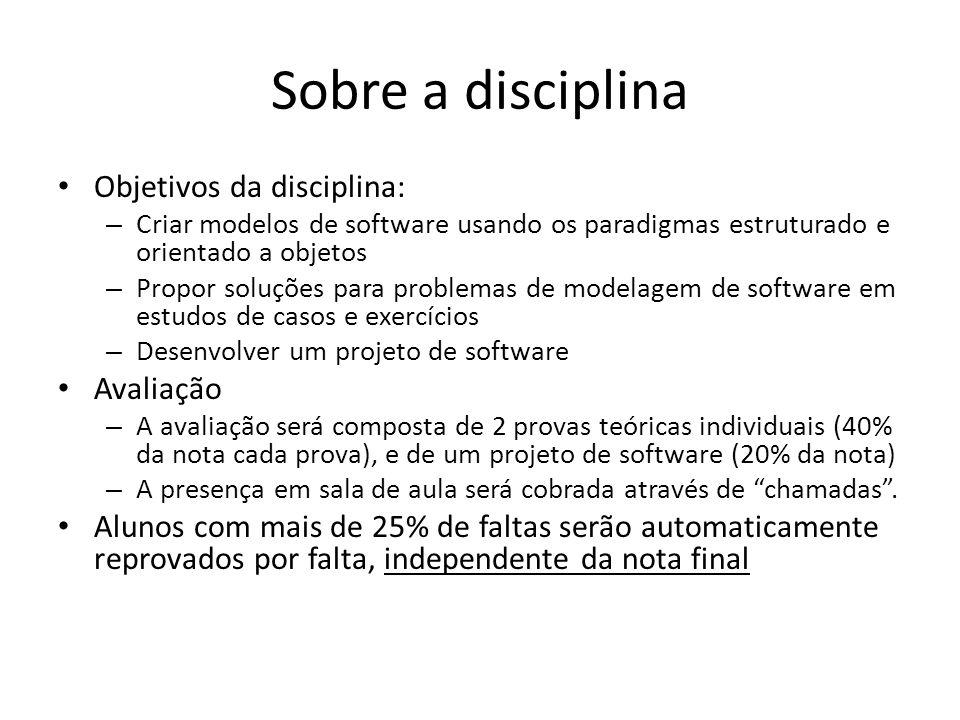 Sobre a disciplina Objetivos da disciplina: Avaliação