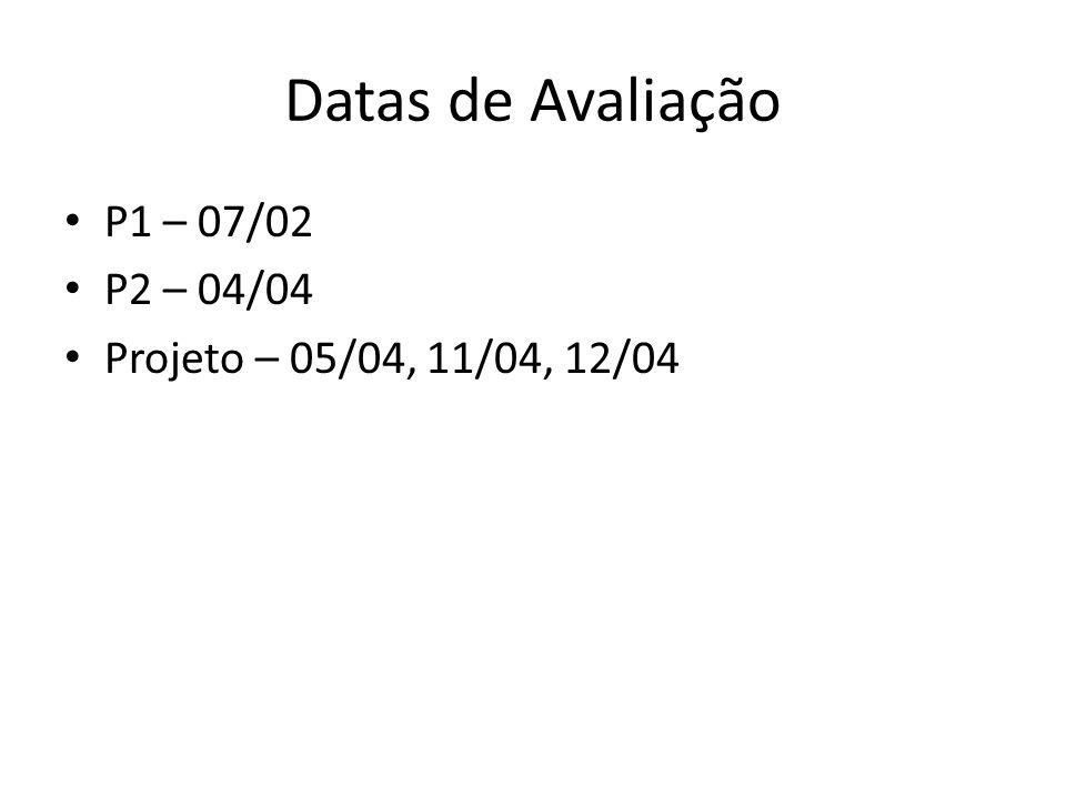 Datas de Avaliação P1 – 07/02 P2 – 04/04 Projeto – 05/04, 11/04, 12/04