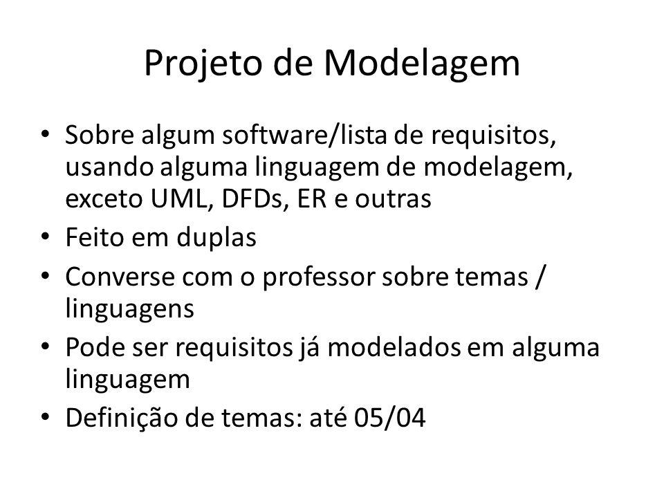 Projeto de Modelagem Sobre algum software/lista de requisitos, usando alguma linguagem de modelagem, exceto UML, DFDs, ER e outras.