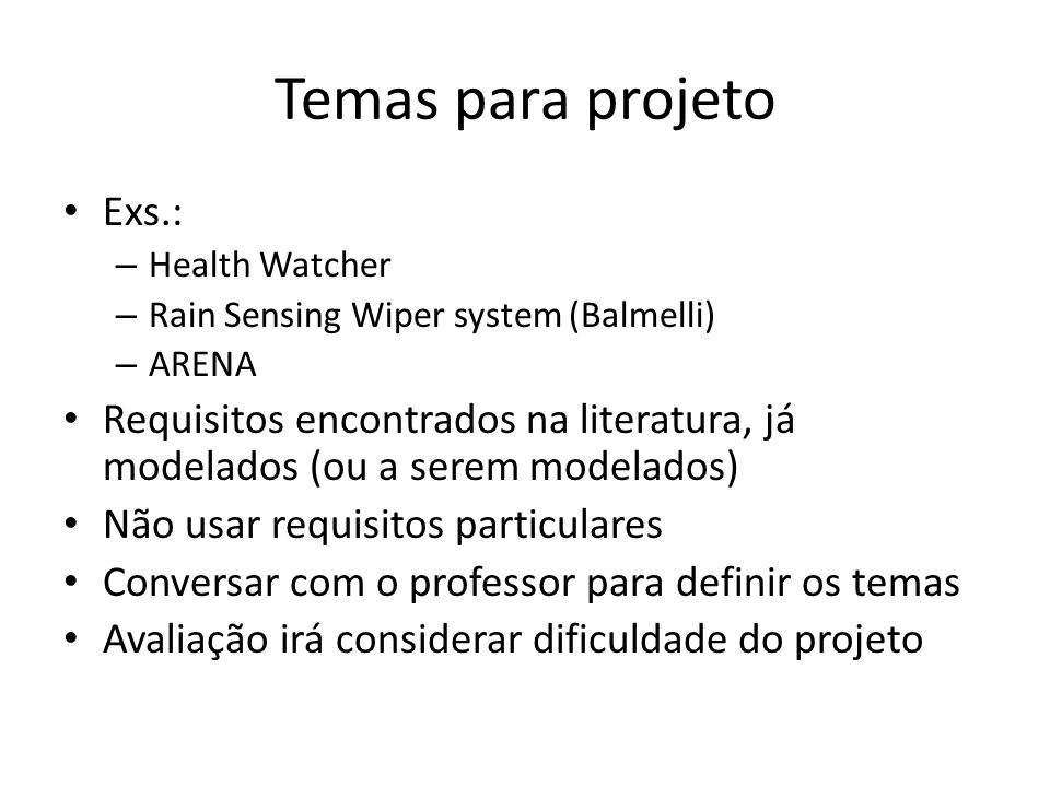 Temas para projeto Exs.: