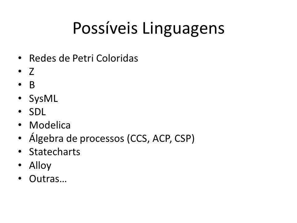 Possíveis Linguagens Redes de Petri Coloridas Z B SysML SDL Modelica