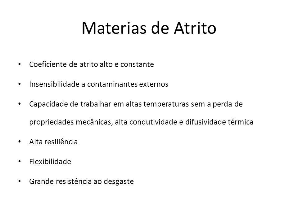 Materias de Atrito Coeficiente de atrito alto e constante