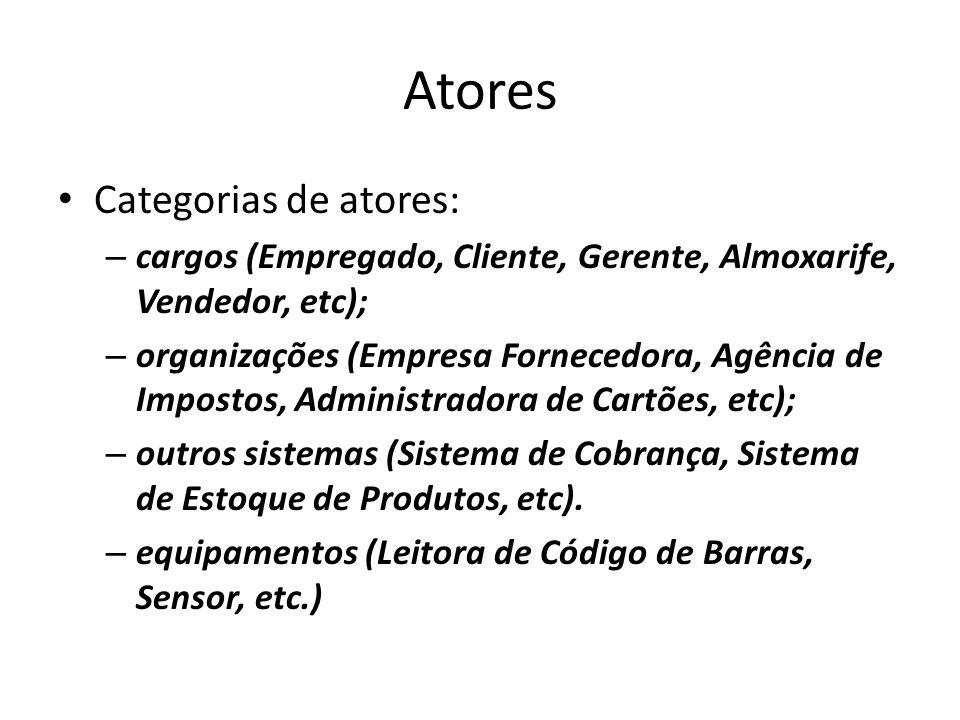 Atores Categorias de atores:
