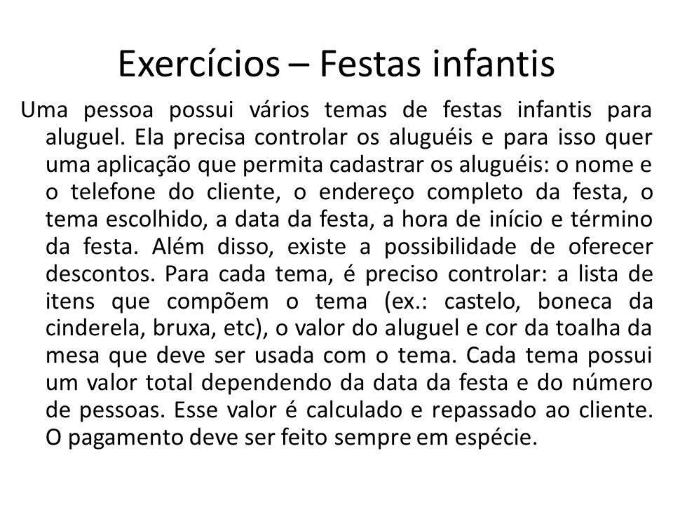 Exercícios – Festas infantis