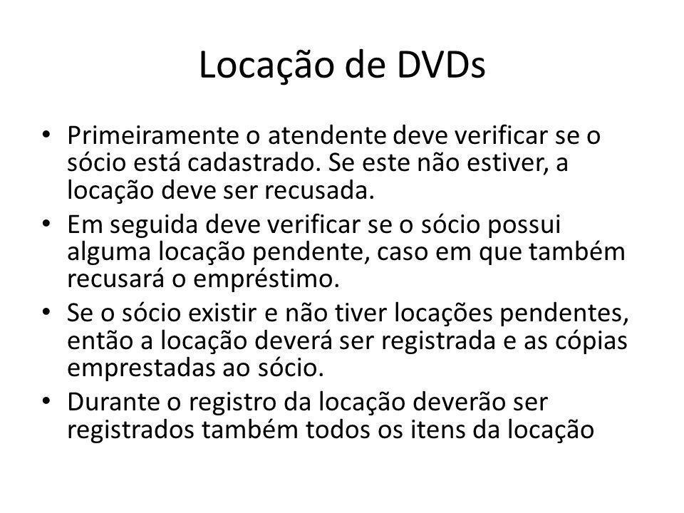 Locação de DVDs Primeiramente o atendente deve verificar se o sócio está cadastrado. Se este não estiver, a locação deve ser recusada.