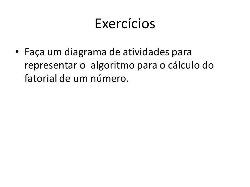 Exercícios Faça um diagrama de atividades para representar o algoritmo para o cálculo do fatorial de um número.