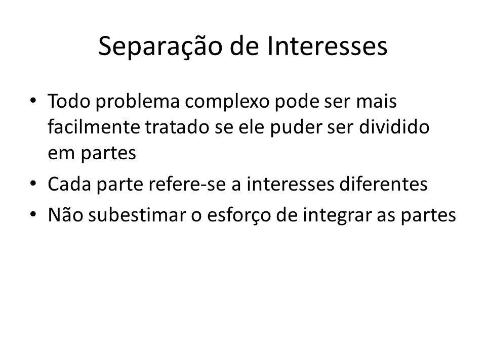 Separação de Interesses