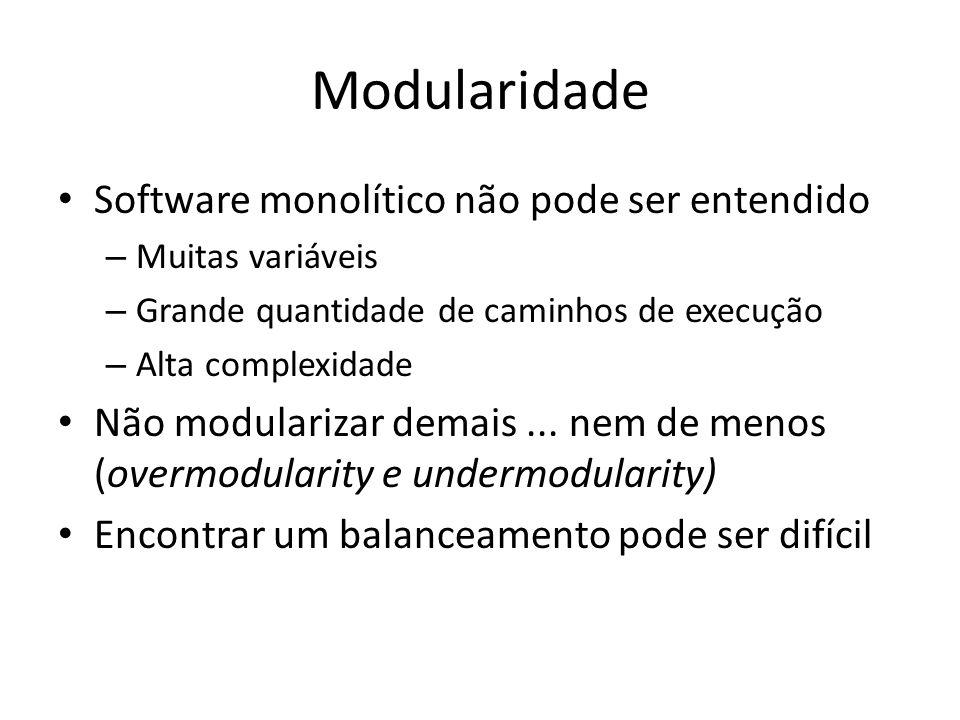 Modularidade Software monolítico não pode ser entendido