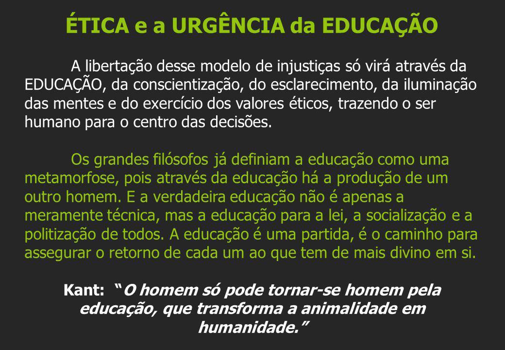 ÉTICA e a URGÊNCIA da EDUCAÇÃO