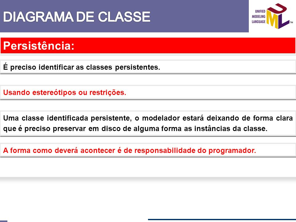 DIAGRAMA DE CLASSE Persistência: