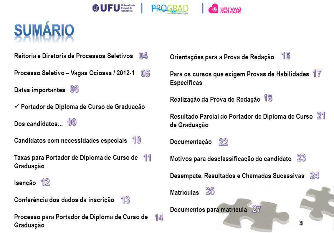 Sumário Reitoria e Diretoria de Processos Seletivos. Processo Seletivo – Vagas Ociosas / 2012-1. Datas importantes.