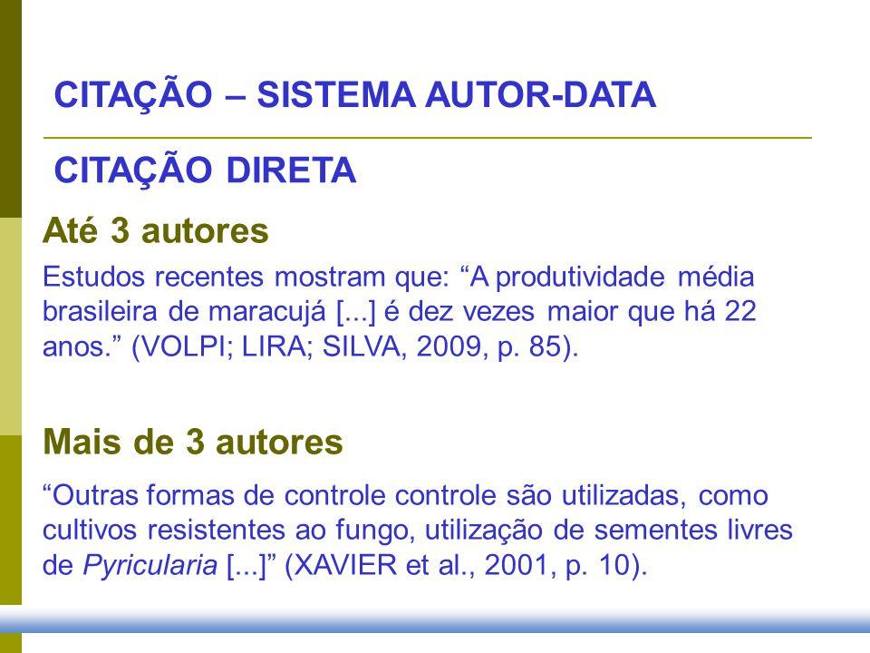 CITAÇÃO – SISTEMA AUTOR-DATA