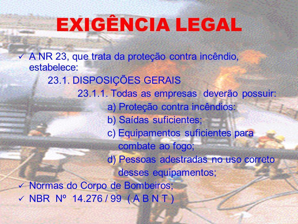 EXIGÊNCIA LEGAL A NR 23, que trata da proteção contra incêndio, estabelece: 23.1. DISPOSIÇÕES GERAIS.