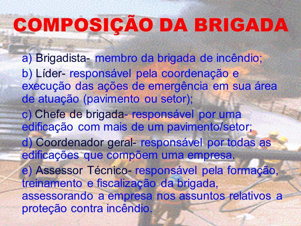 COMPOSIÇÃO DA BRIGADA a) Brigadista- membro da brigada de incêndio;