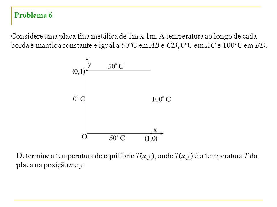 Problema 6 Considere uma placa fina metálica de 1m x 1m. A temperatura ao longo de cada.