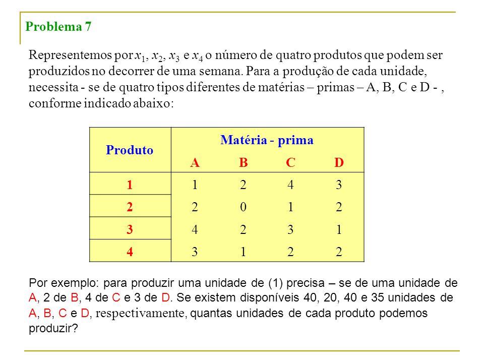 Produto Matéria - prima A B C D 1
