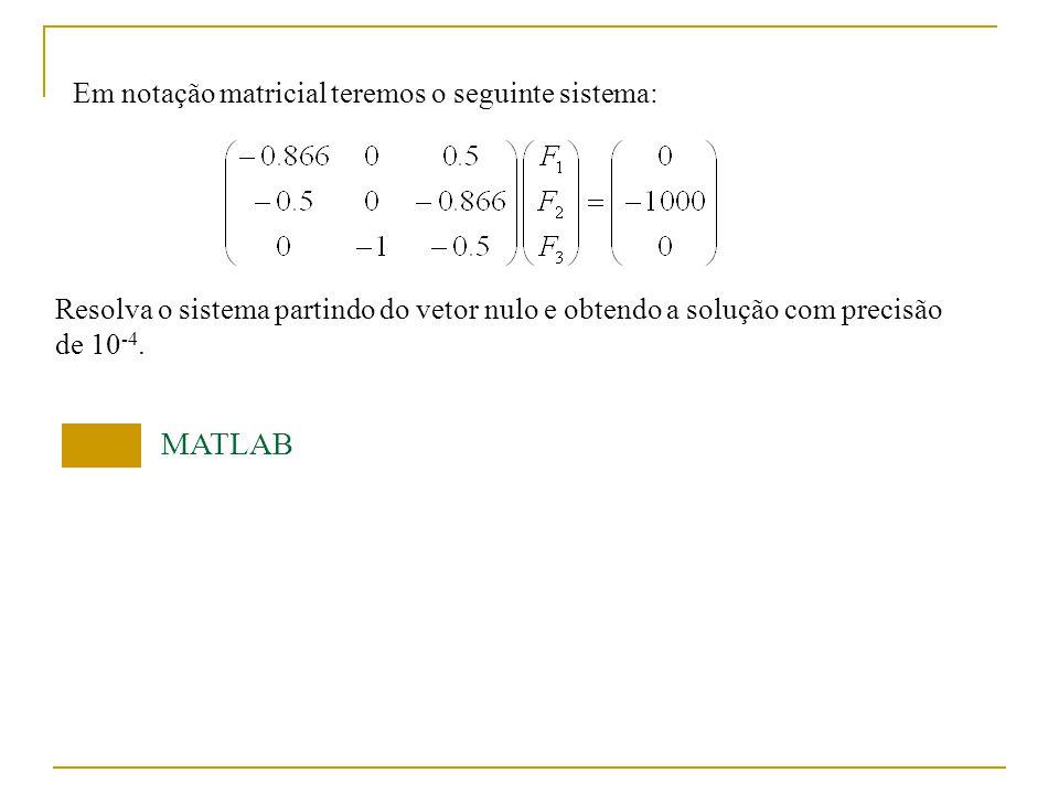 MATLAB Em notação matricial teremos o seguinte sistema: