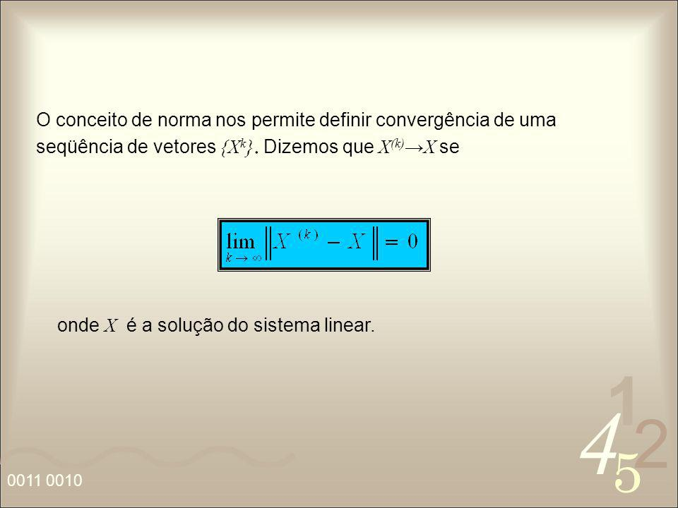 O conceito de norma nos permite definir convergência de uma seqüência de vetores {Xk}. Dizemos que X(k)→X se