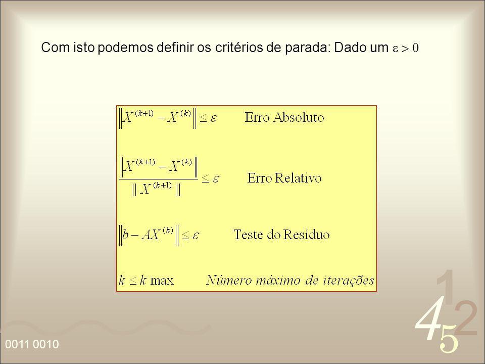 Com isto podemos definir os critérios de parada: Dado um e > 0
