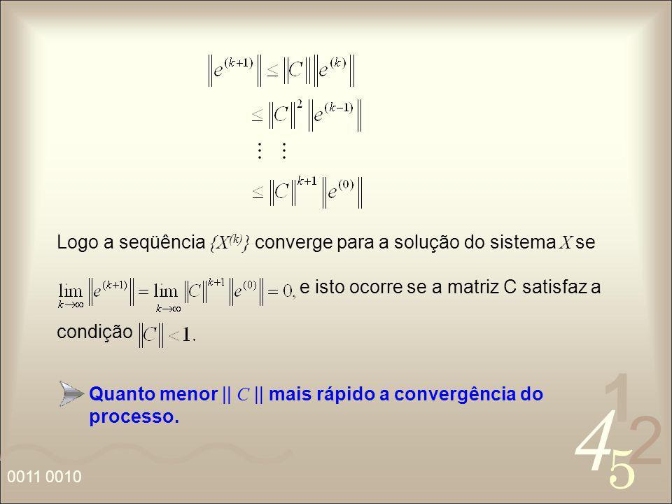Logo a seqüência {X(k)} converge para a solução do sistema X se