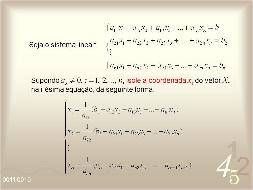 Seja o sistema linear: Supondo , isole a coordenada xi do vetor X, na i-ésima equação, da seguinte forma: