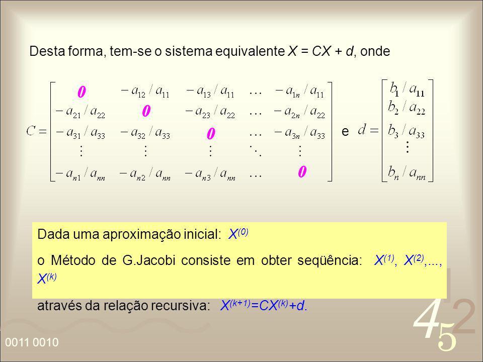 Desta forma, tem-se o sistema equivalente X = CX + d, onde