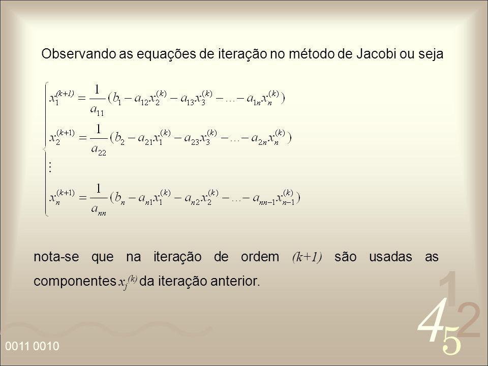 Observando as equações de iteração no método de Jacobi ou seja