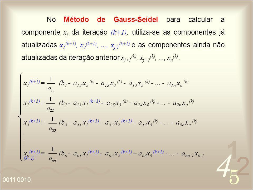 No Método de Gauss-Seidel para calcular a componente xj da iteração (k+1), utiliza-se as componentes já atualizadas x1(k+1), x2(k+1), ..., xj-1(k+1) e as componentes ainda não atualizadas da iteração anterior xj+1(k), xj+2(k), ..., xn(k).