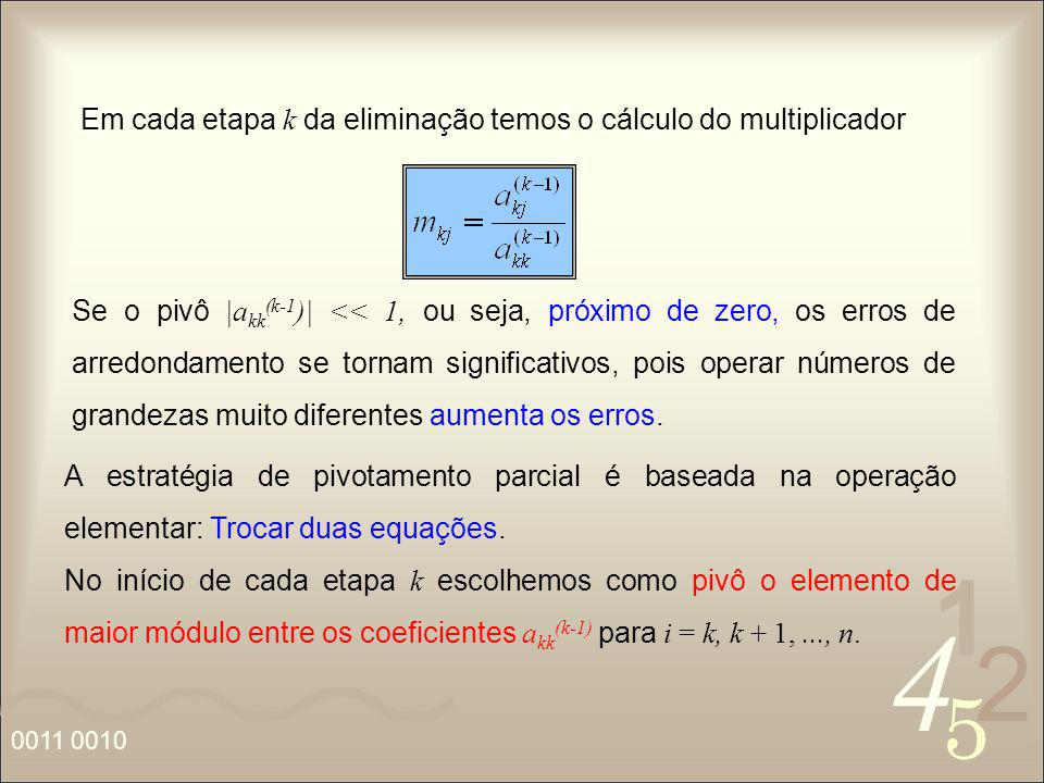 Em cada etapa k da eliminação temos o cálculo do multiplicador