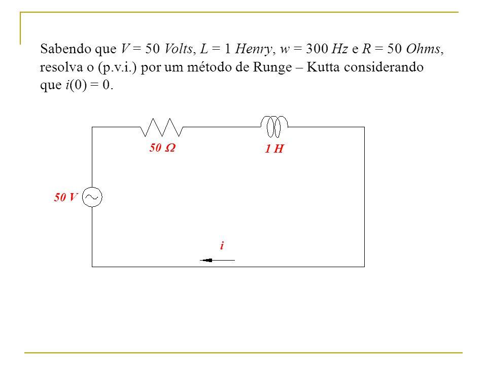 Sabendo que V = 50 Volts, L = 1 Henry, w = 300 Hz e R = 50 Ohms,