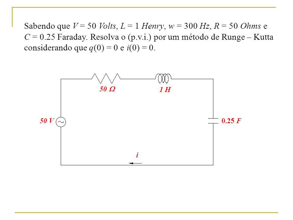 Sabendo que V = 50 Volts, L = 1 Henry, w = 300 Hz, R = 50 Ohms e