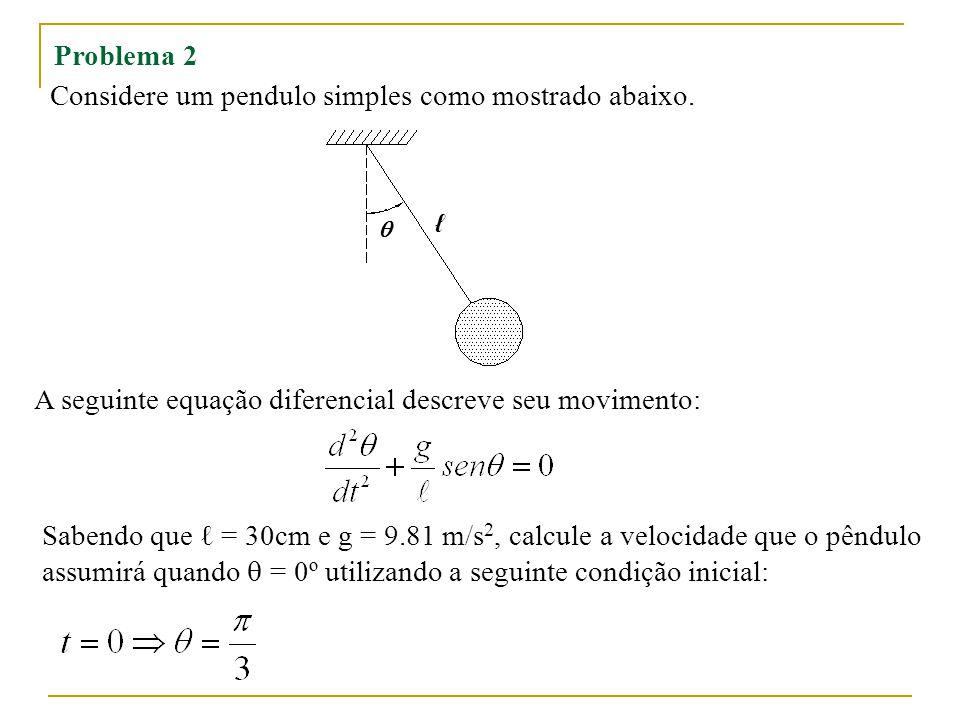 Considere um pendulo simples como mostrado abaixo.