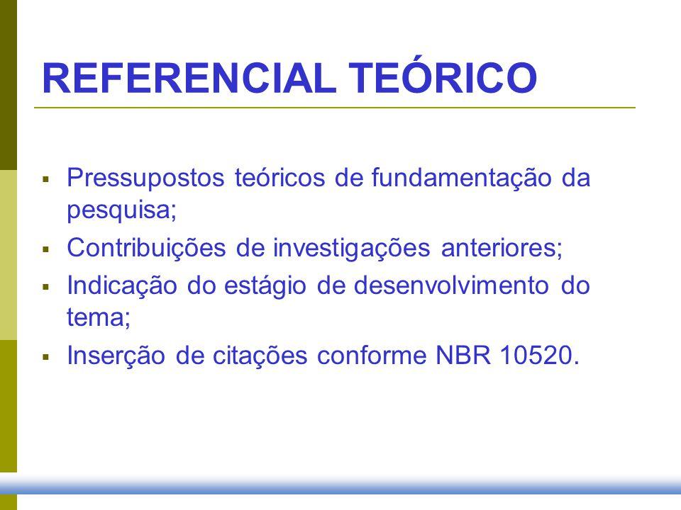 REFERENCIAL TEÓRICO Pressupostos teóricos de fundamentação da pesquisa; Contribuições de investigações anteriores;