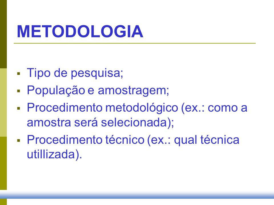METODOLOGIA Tipo de pesquisa; População e amostragem;