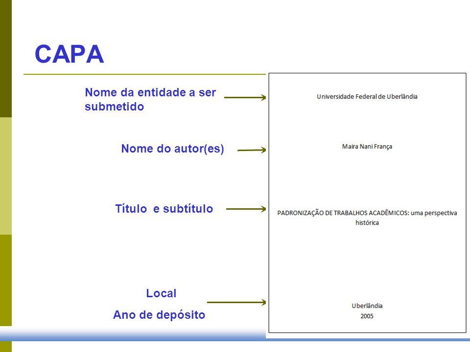 CAPA Nome da entidade a ser submetido Nome do autor(es)