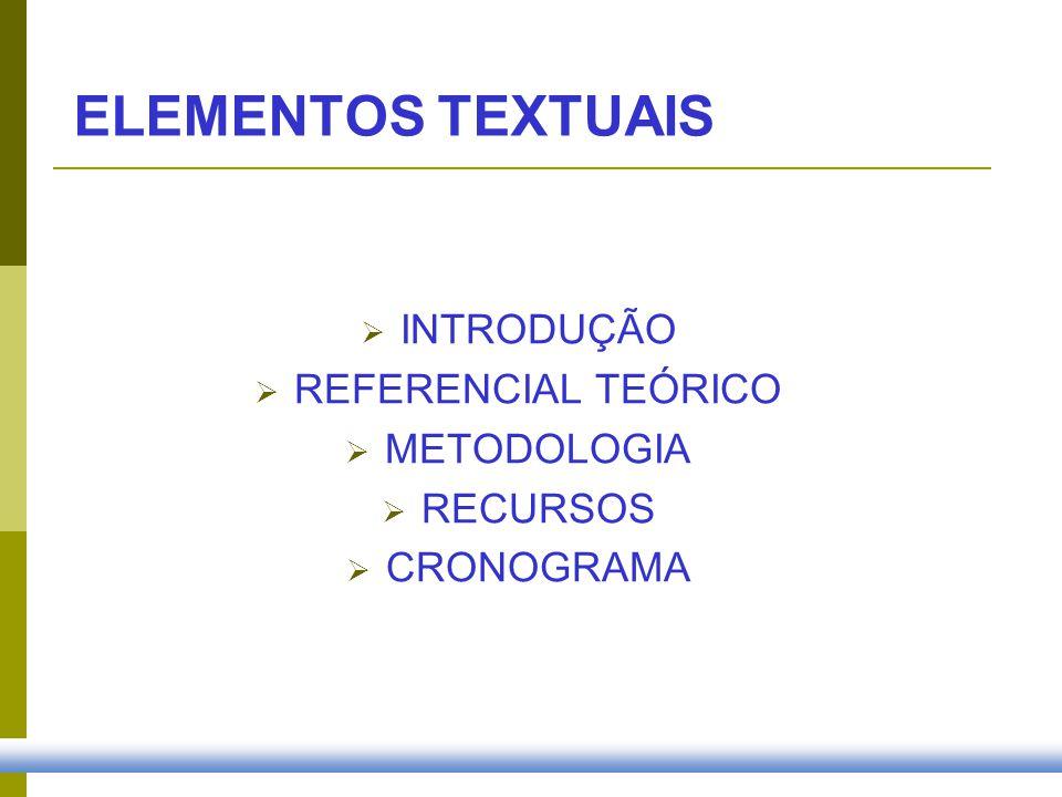 ELEMENTOS TEXTUAIS INTRODUÇÃO REFERENCIAL TEÓRICO METODOLOGIA RECURSOS