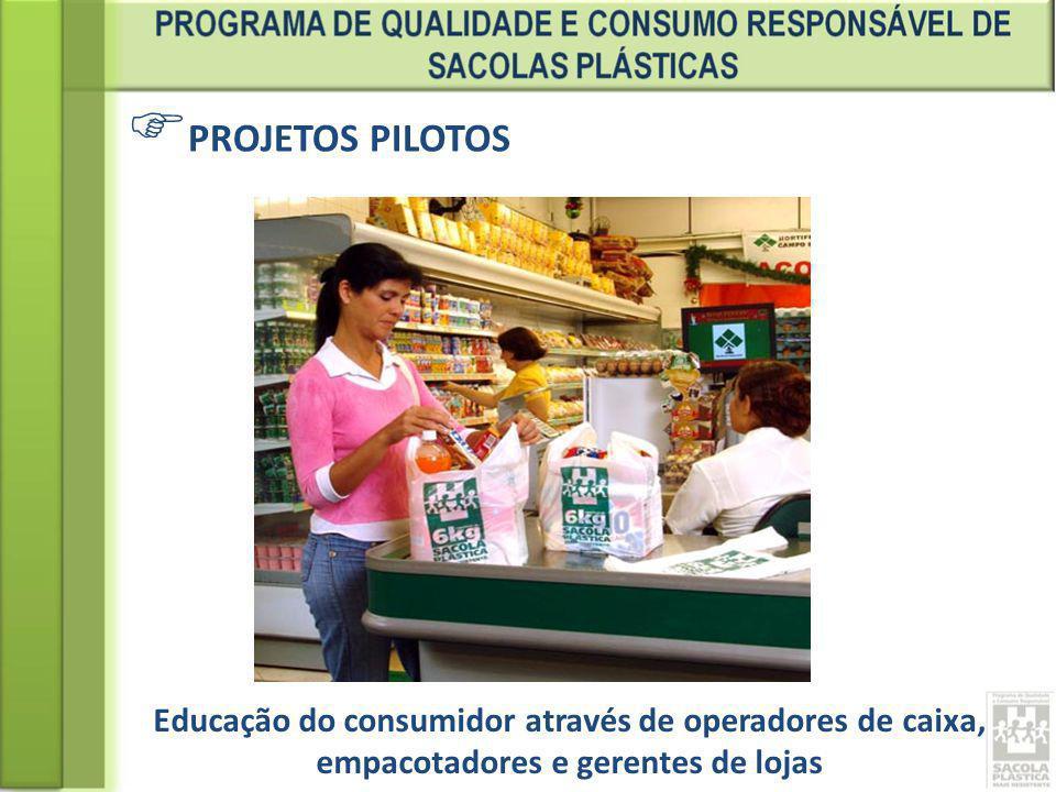 PROJETOS PILOTOS Educação do consumidor através de operadores de caixa, empacotadores e gerentes de lojas.