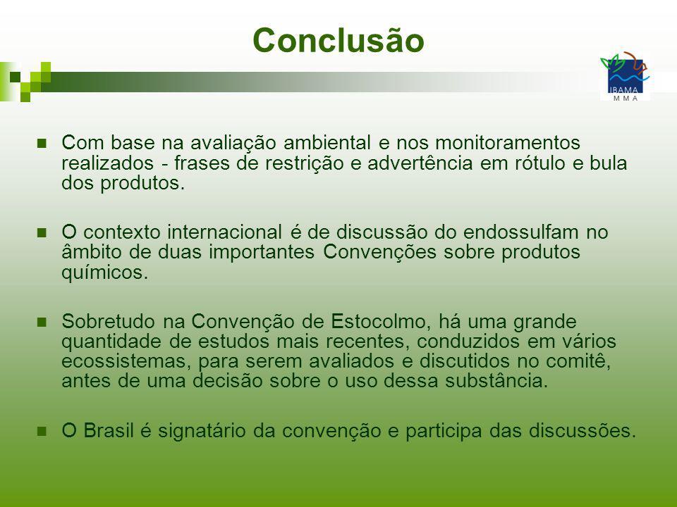 Conclusão Com base na avaliação ambiental e nos monitoramentos realizados - frases de restrição e advertência em rótulo e bula dos produtos.