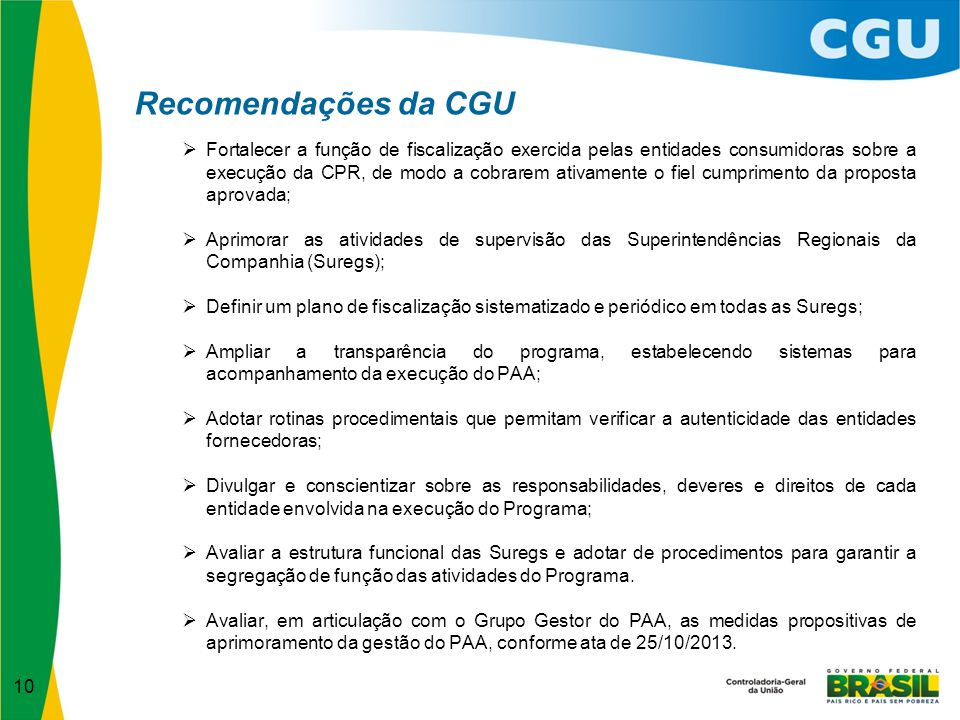 Recomendações da CGU
