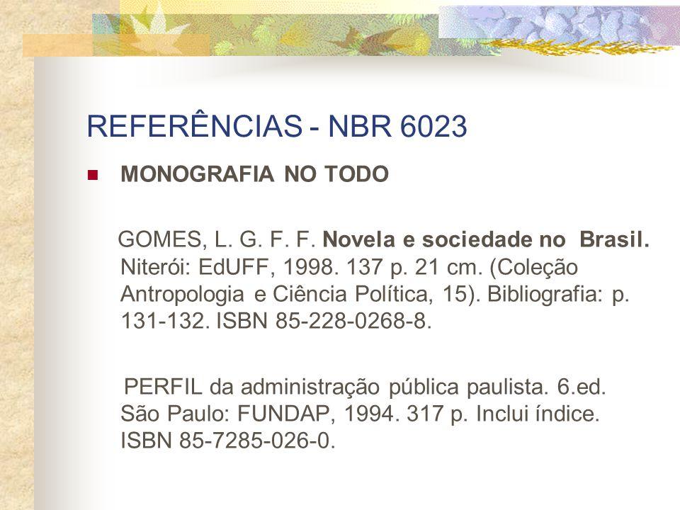 REFERÊNCIAS - NBR 6023 MONOGRAFIA NO TODO