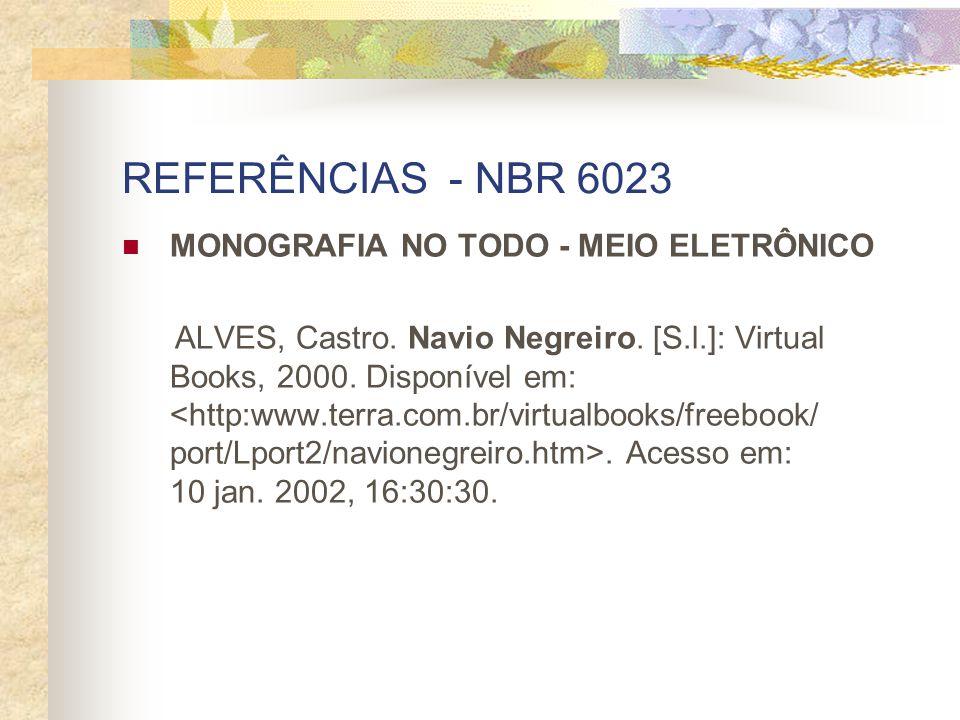 REFERÊNCIAS - NBR 6023 MONOGRAFIA NO TODO - MEIO ELETRÔNICO