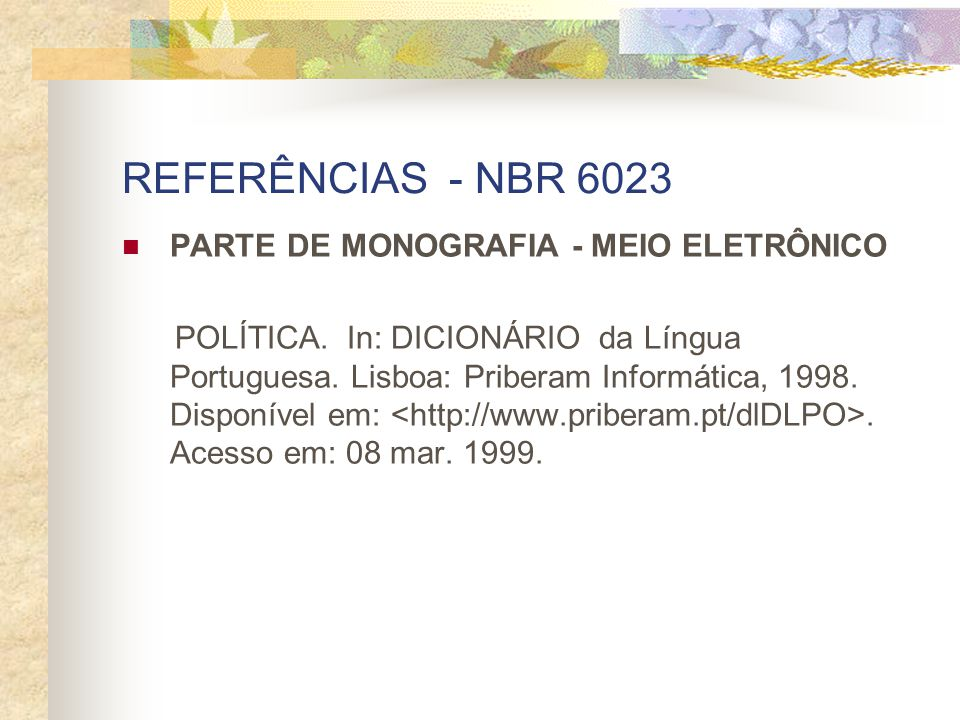 REFERÊNCIAS - NBR 6023 PARTE DE MONOGRAFIA - MEIO ELETRÔNICO