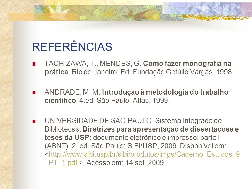 REFERÊNCIAS TACHIZAWA, T.; MENDES, G. Como fazer monografia na prática. Rio de Janeiro: Ed. Fundação Getúlio Vargas, 1998.
