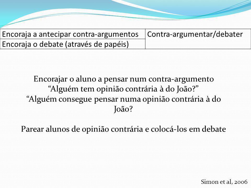 Encoraja a antecipar contra-argumentos Contra-argumentar/debater