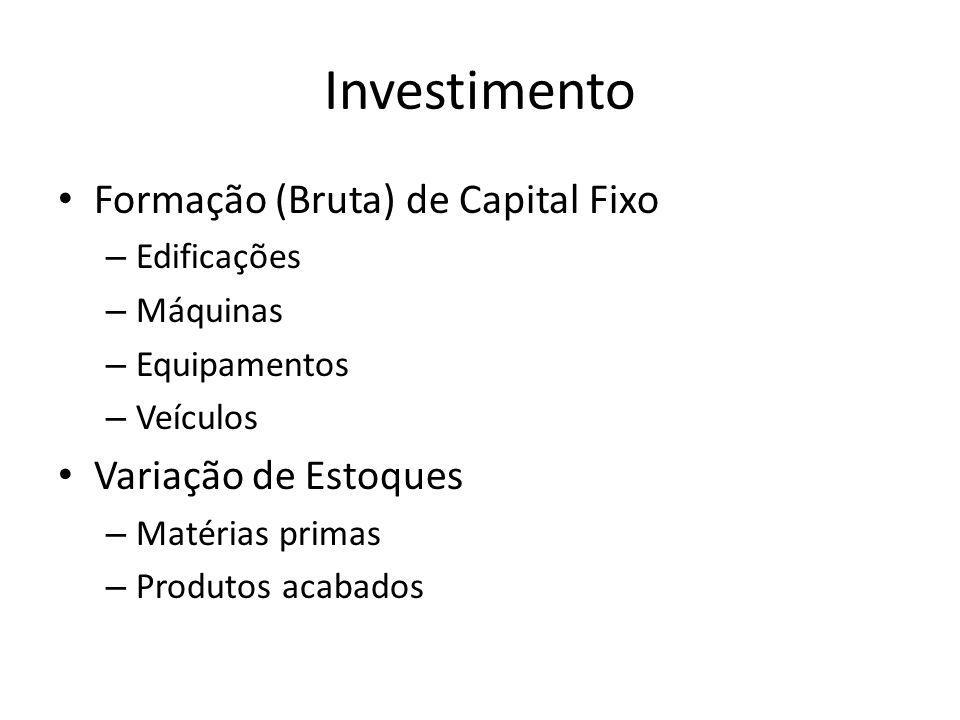 Investimento Formação (Bruta) de Capital Fixo Variação de Estoques